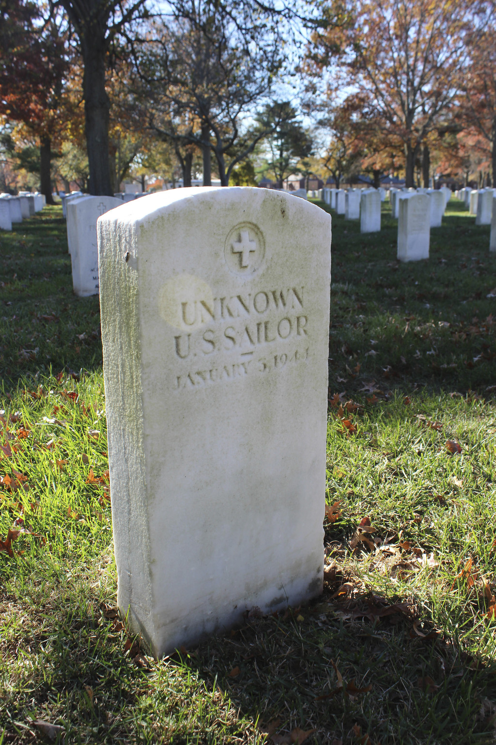 FILE- This Nov. 11, 2016, file photo shows a gravestone with the inscription UNKNOWN U.S. SAILOR at Long Island National Cemetery in Fa...