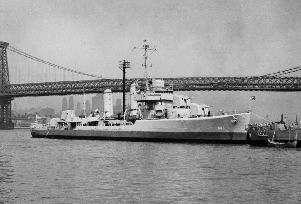FILE - This undated file photo provided by the U.S. Navy shows the USS Turner on the East River in New York City near the Williamsburg ...