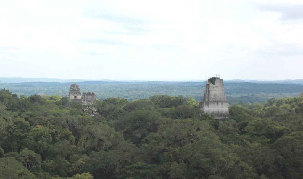 In this photograph taken Dec. 6, 2016, three of Tikal National Park's temples rise above the tree line as viewed from the top of anothe...