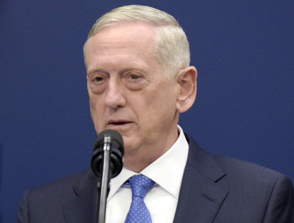 FILE - In this Jan. 27, 2017, file photo, U.S. Defense Secretary Jim Mattis speaks at the Pentagon in Washington. China has found commo