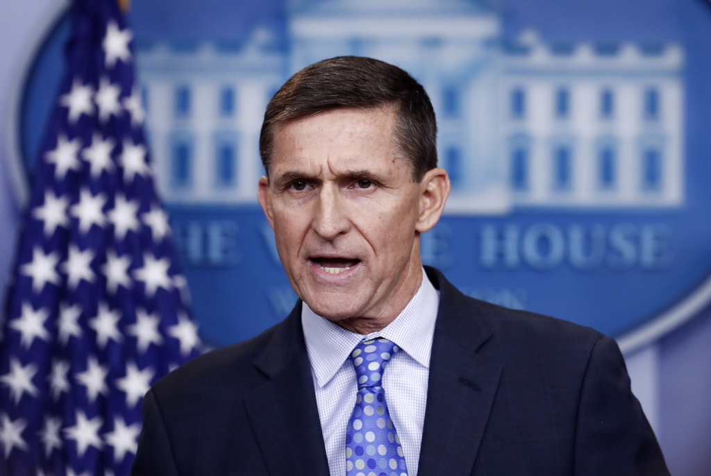 FILE- In this Feb. 1, 2017, file photo, National Security Adviser Michael Flynn speaks during the daily news briefing at the White Hous...