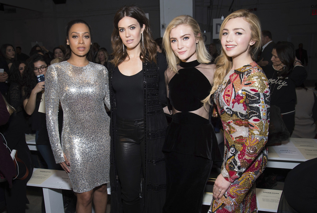 La La Anthony, from left, Mandy Moore, Skyler Samuels and Peyton List appear at the Naeem Khan show as part of NYFW Fall/Winter 2017 on...