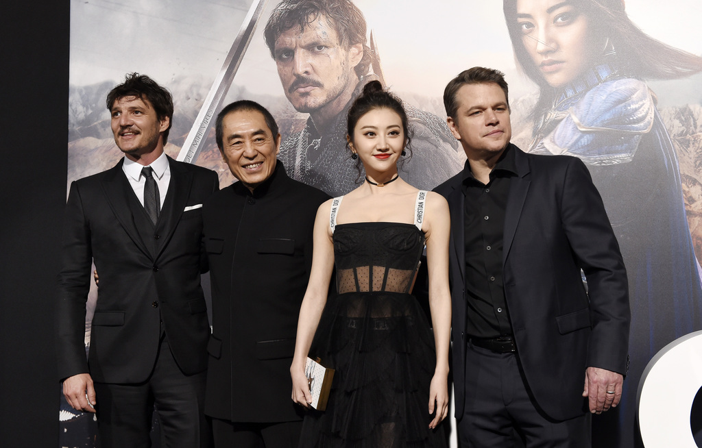 """Zhang Yimou, second from left, director of """"The Great Wall,"""" poses with cast members, from left, Pedro Pascal, Jing Tian and Matt Damon..."""