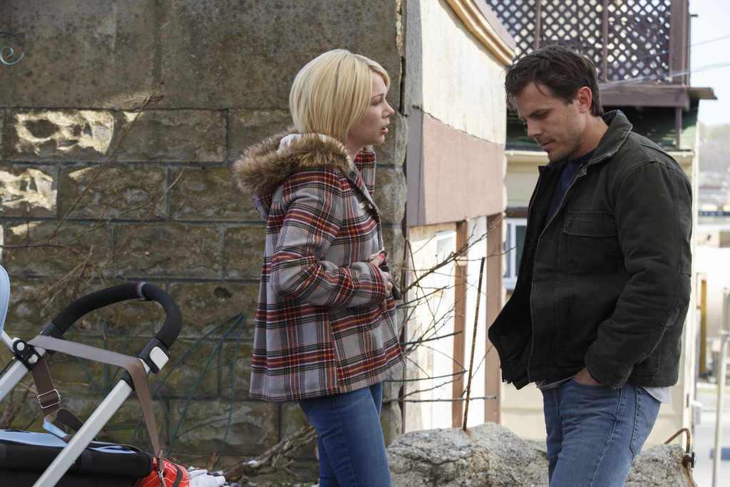 FILE - This image released by Roadside Attractions and Amazon Studios shows Michelle Williams, left, and Casey Affleck in a scene from ...