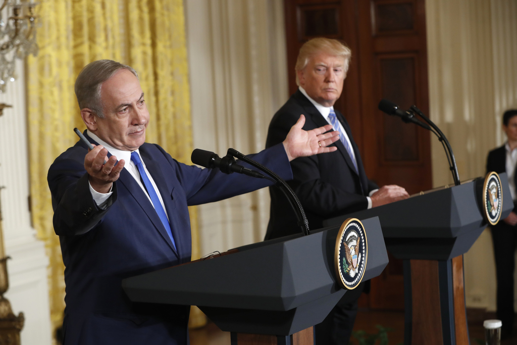 FILE - In this Wednesday, Feb. 15, 2017 file photo, President Donald Trump and Israeli Prime Minister Benjamin Netanyahu give a joint n...