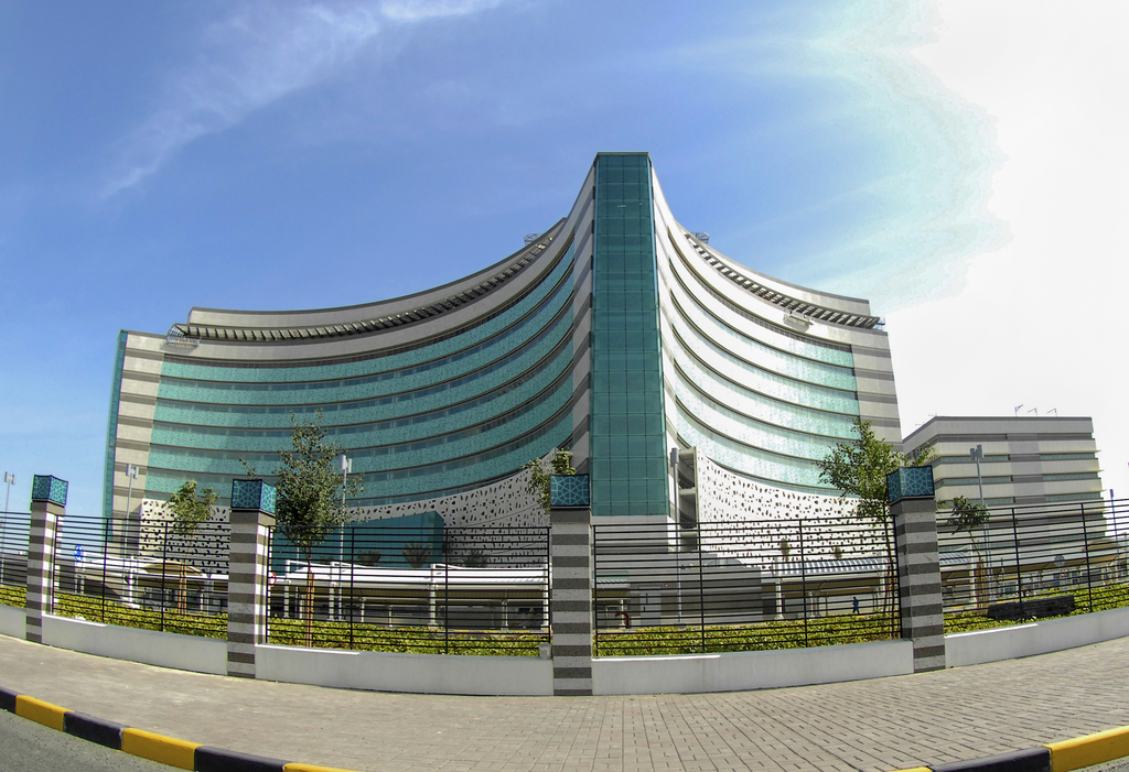 This Jan. 25, 2017 photo taken with a super wide-angle lens, shows the new 304 million dinar ($997 million) Jaber Hospital, about a 20-...