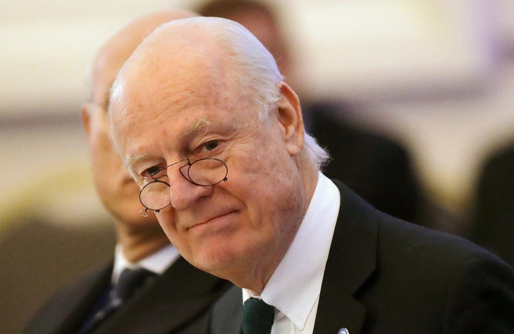 FILE -- In this Jan. 23, 2017 file photo, U.N. Special Envoy for Syria Staffan de Mistura arrives to attend the talks on Syrian peace i...