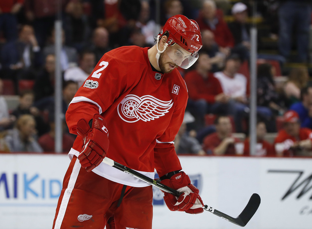 Detroit Red Wings defenseman Brendan Smith skates off the ice during the third period of the team's NHL hockey game against the New Yor...