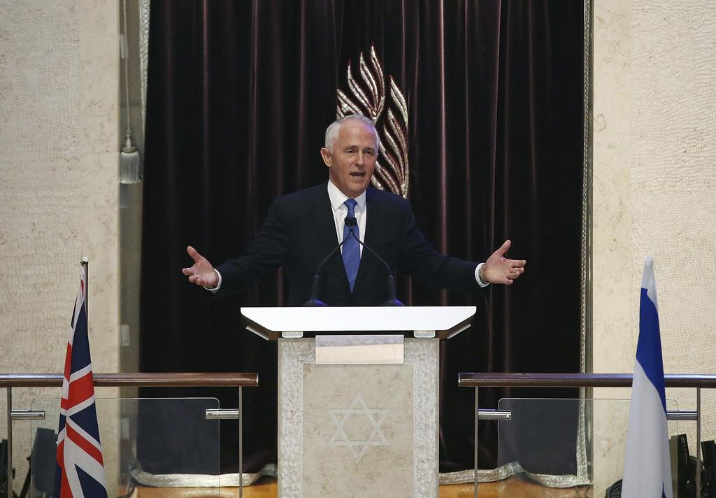 Australian Prime Minister Malcolm Turnbull speaks at the Central Synagogue in Sydney where Israeli Prime Minister Benjamin Netanyahu is...
