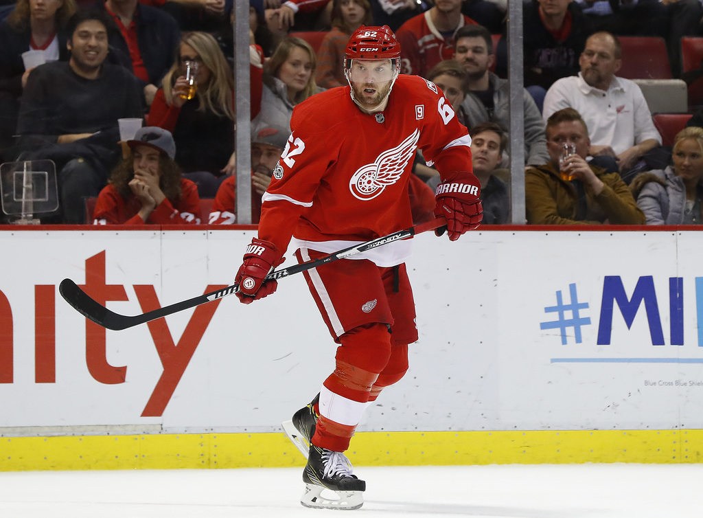 Detroit Red Wings left wing Thomas Vanek (62) skates against the New York Islanders during the third period of an NHL hockey game Tuesd...