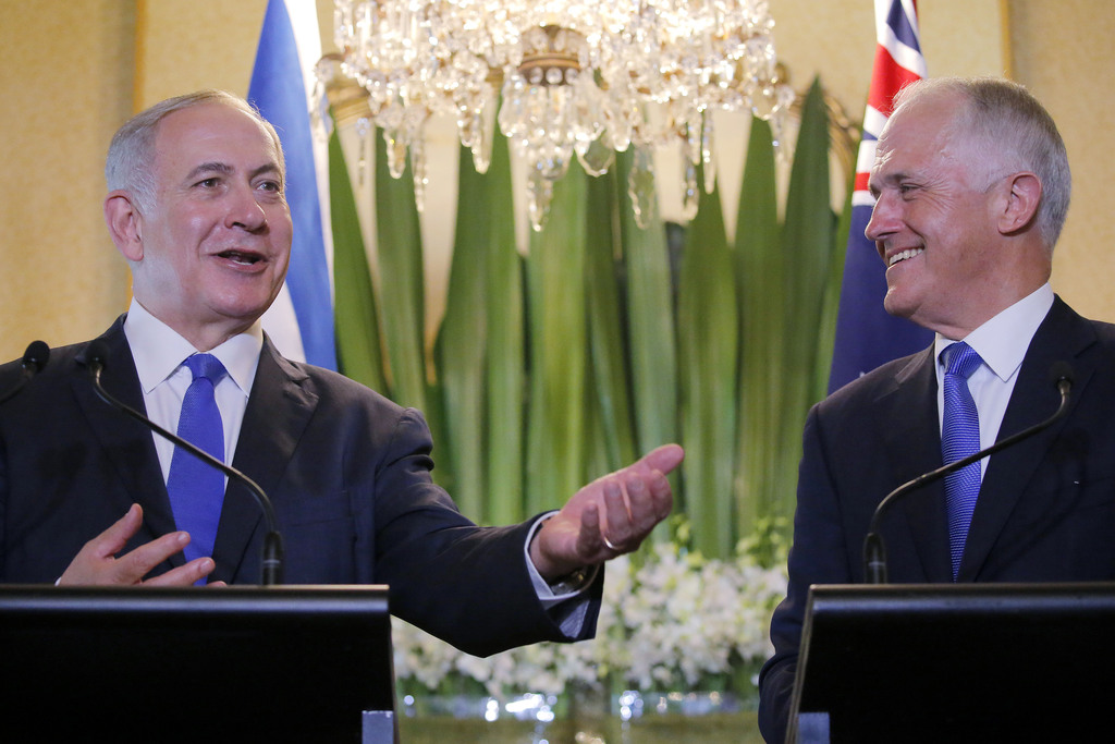 Israeli Prime Minister Benjamin Netanyahu, left, and Australian Prime Minister Malcolm Turnbull conduct a joint press conference at Kir...