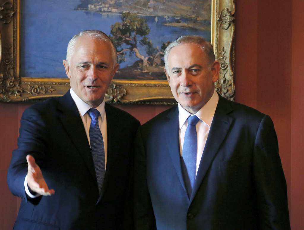 Israeli Prime Minister Benjamin Netanyahu, right, and Australian Prime Minister Malcolm Turnbull arrive at their bilateral meeting at A...