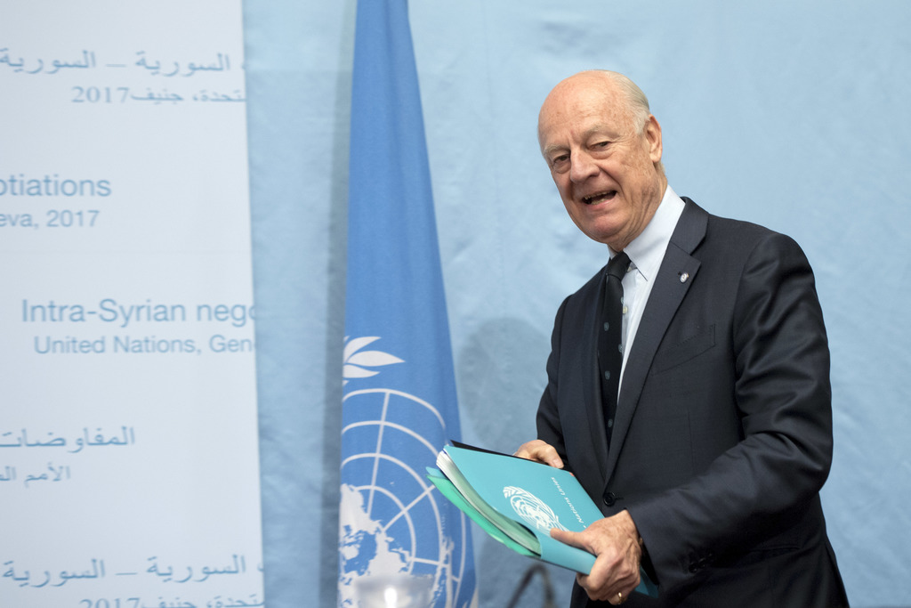 UN Special Envoy of the Secretary-General for Syria Staffan de Mistura arrives to inform the media one day before the resumption of the...