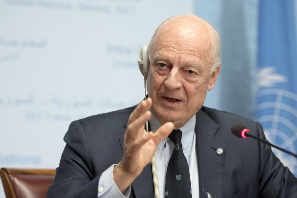 UN Special Envoy of the Secretary-General for Syria Staffan de Mistura informs the media one day before the resumption of the negotiati...