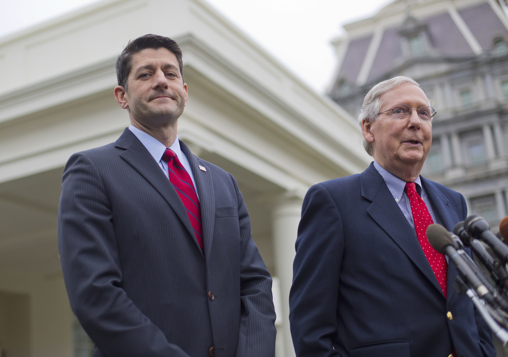 FILE - In this Feb. 27, 2017, file photo, House Speaker Paul Ryan of Wis. listens at left as Senate Majority Leader Mitch McConnell of ...
