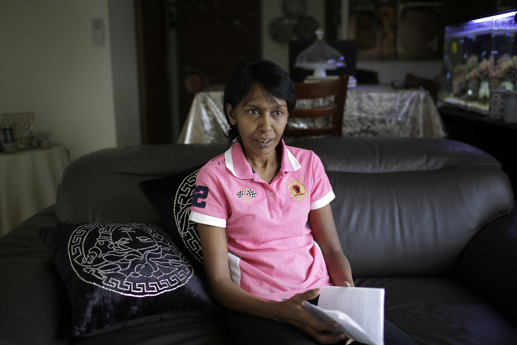 Irene Clennell speaks during an interview with The Associated Press Tuesday, Feb. 28, 2017, in Singapore. Clennell, 53, was deported fr...