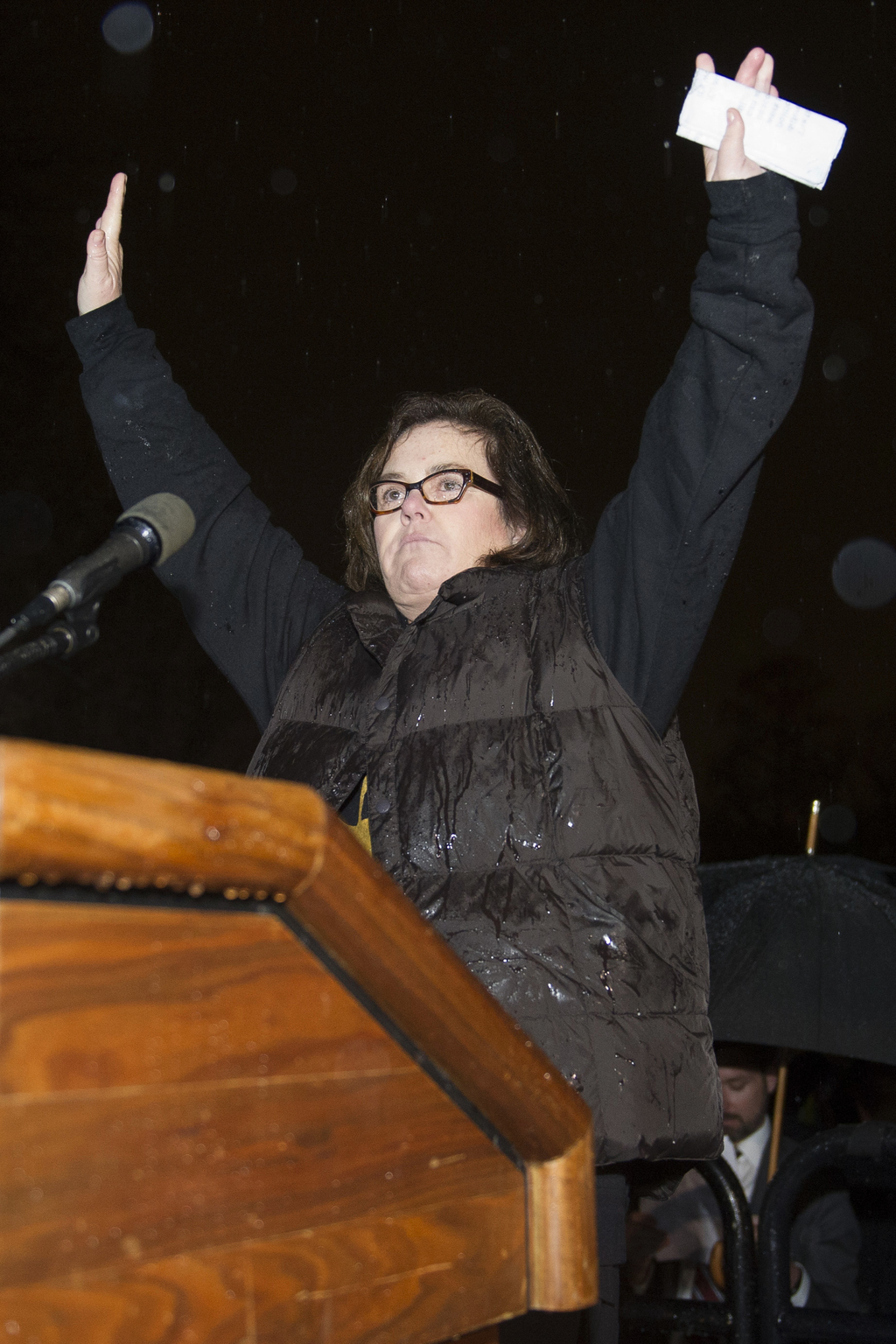 Rosie O'Donnell speaks at a rally calling for resistance to President Donald Trump, Tuesday, Feb. 28, 2017, in Lafayette Park in front ...