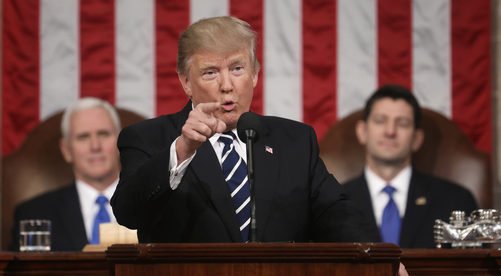 President Donald Trump addresses a joint session of Congress on Capitol Hill in Washington, Tuesday, Feb. 28, 2017. Vice President Mike...