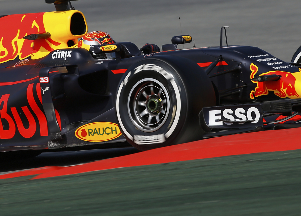 Red Bull driver Max Verstappen of the Netherlands takes a curve during a Formula One pre-season testing session at the Catalunya racetr...