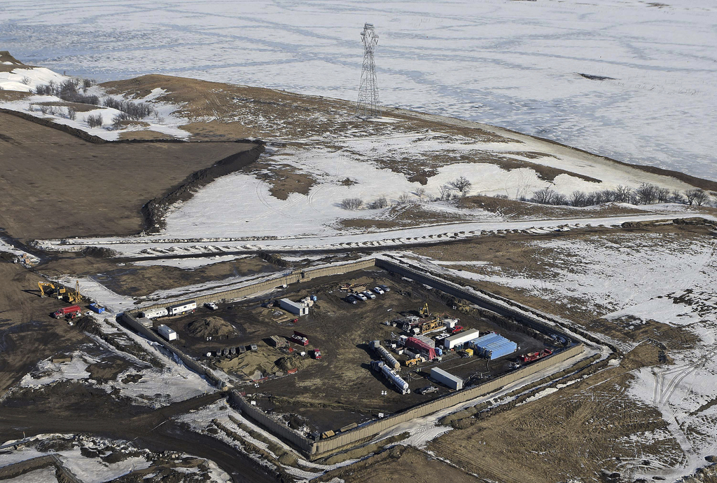 FILE - In this Feb. 13, 2017, aerial file photo shows the site where the final phase of the Dakota Access pipeline will take place with...