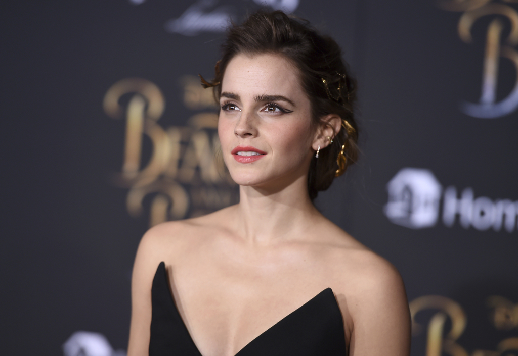 """Emma Watson arrives at the world premiere of """"Beauty and the Beast"""" at the El Capitan Theatre on Thursday, March 2, 2017, in Los Angele..."""