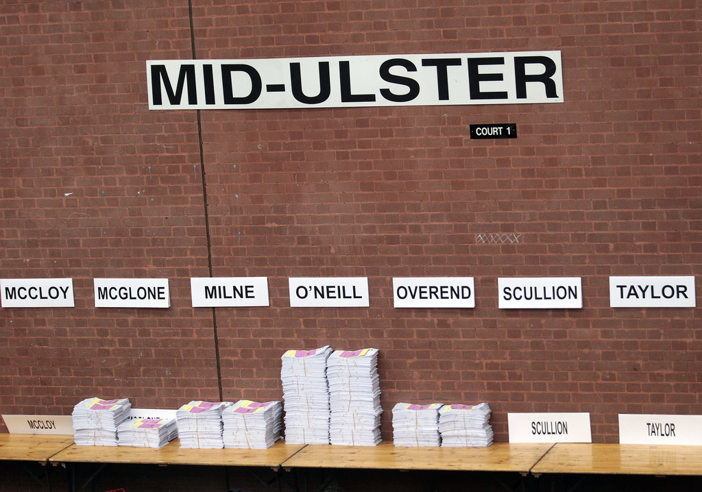 Election papers in Mid Ulster at the count centre in Ballymena, Northern Ireland, Friday, March 3, 2017. Counting has begun across Nort...