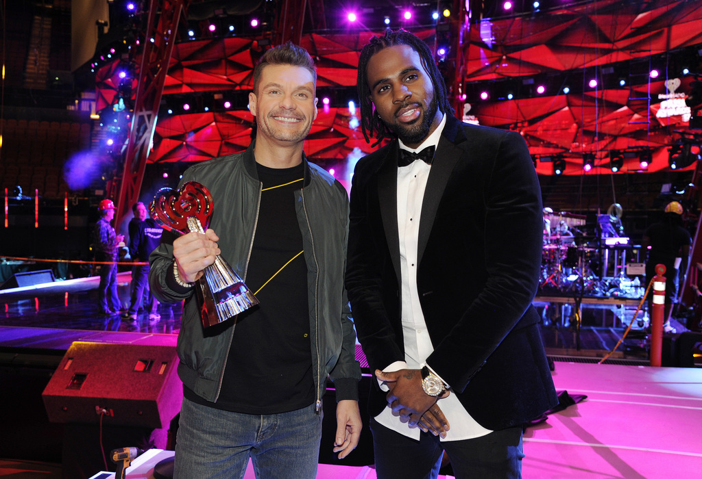 Host Ryan Seacrest, left, and singer Jason Derulo pose together at the press preview day for the 2017 iHeartRadio Music Awards at The F...