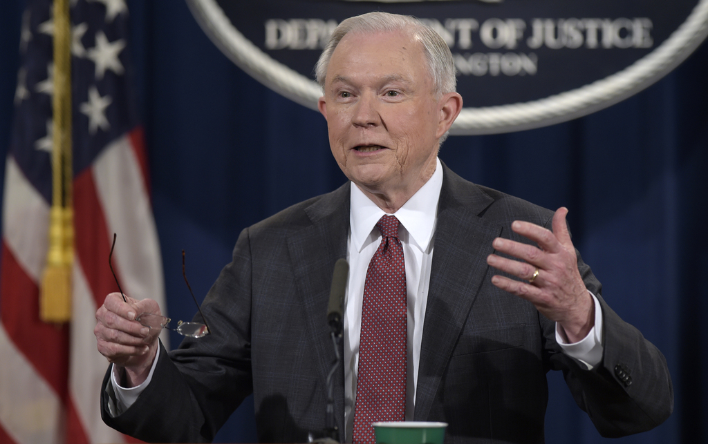 FILE - In this March 2, 2017 file photo, Attorney General Jeff Sessions speaks during a news conference at the Justice Department in Wa...