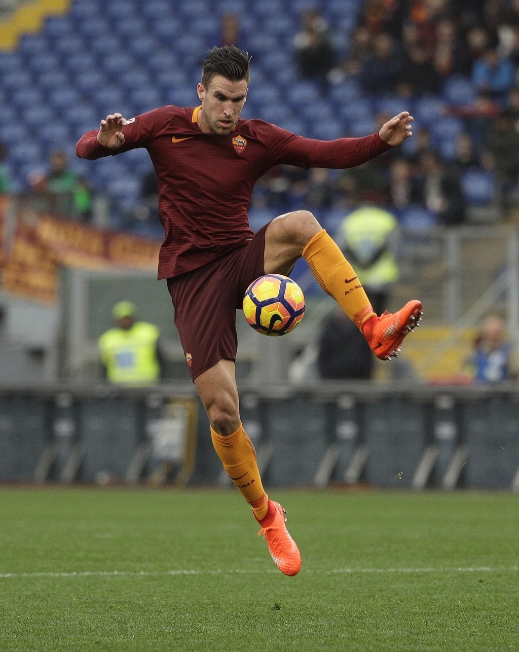 Roma's Kevin Strootman goes for the ball during a Serie A soccer match between Roma and Napoli, at the Rome Olympic stadium, Saturday, ...