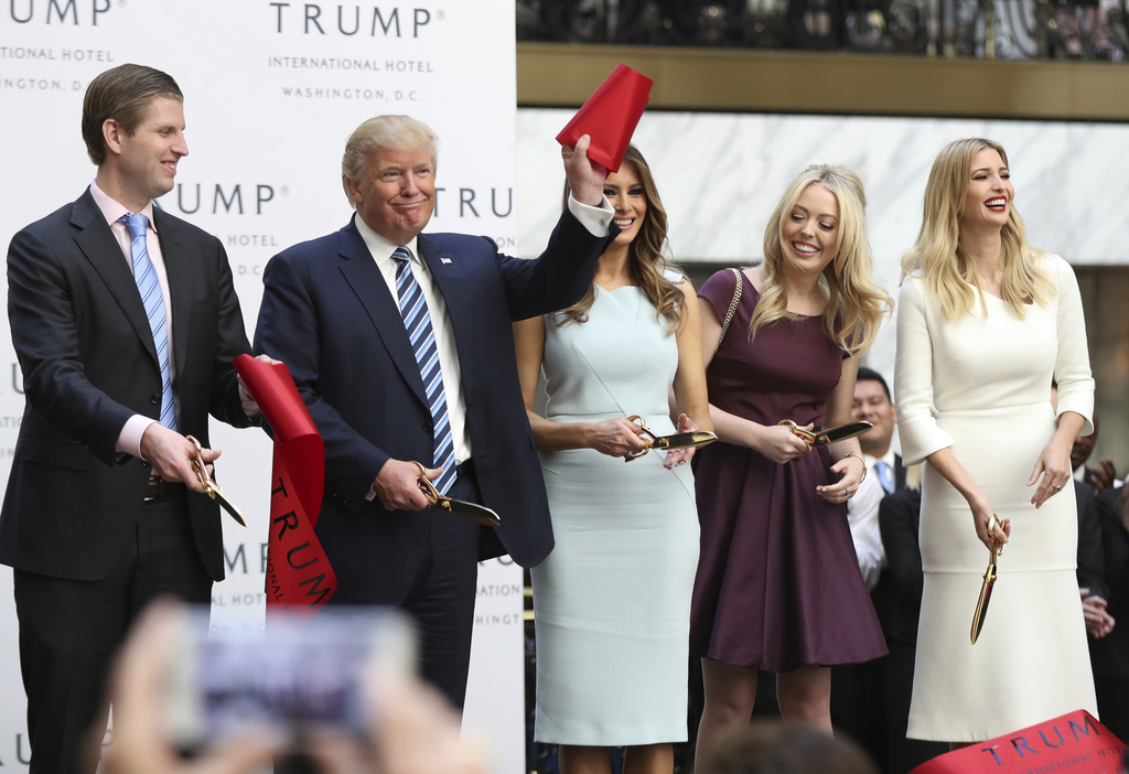 FILE - In this Oct. 26, 2016 file photo, then-Republican presidential candidate Donald Trump, together with his family, from left, Eric...