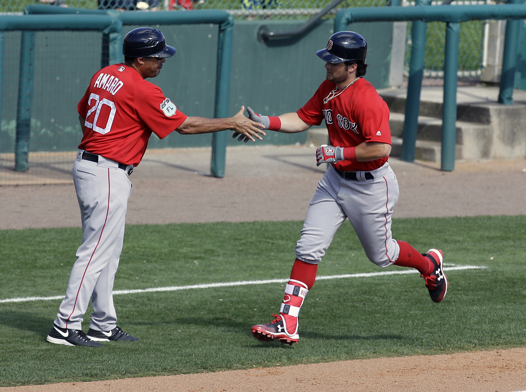 Boston Red Sox's Andrew Benintendi, right, shakes hands with third base coach Ruben Amaro Jr. after hitting a home run in the sixth inn...