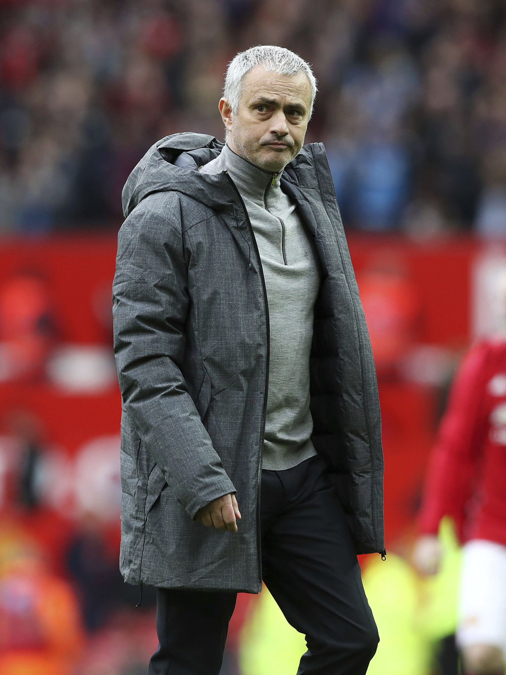 Manchester United manager Jose Mourinho looks dejected after their English Premier League soccer match against AFC Bournemouth at Old T...