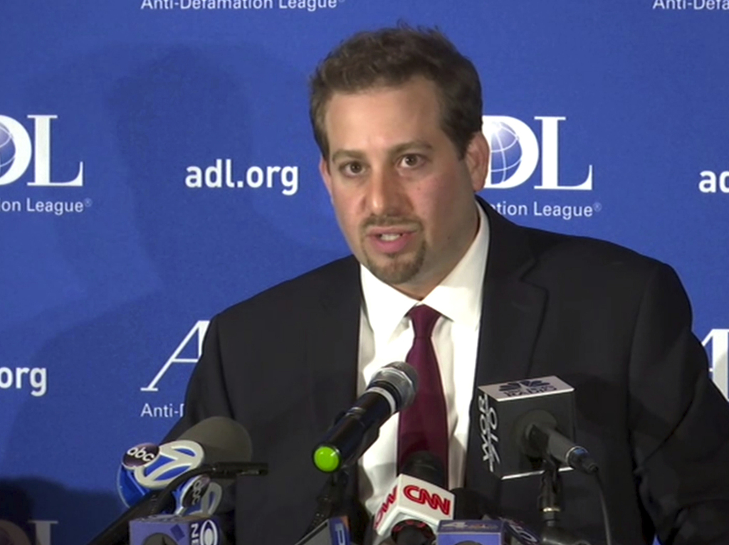 In this image taken from video, Oren Segal, Co-Director of the Anti-Defamation League's Center on Extremism, addresses the media at a n...