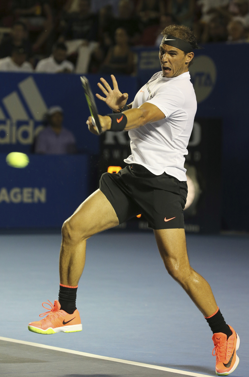 Spain's Rafael Nadal returns to Croatia's Marini Cilic during a semifinal match of the Mexican Tennis Open in Acapulco, Mexico, Friday ...