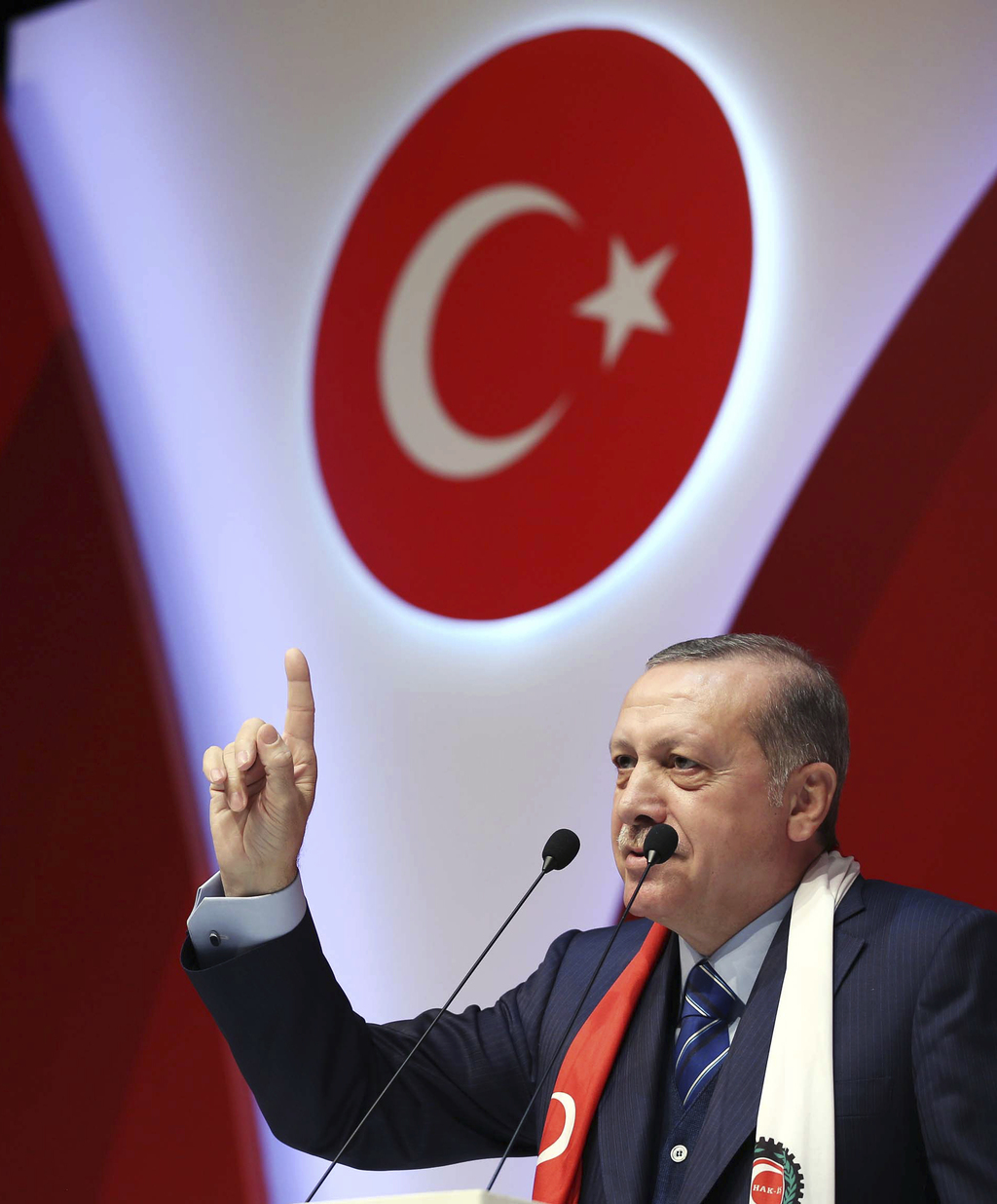Turkey's President Recep Tayyip Erdogan addresses a meeting in Istanbul, Saturday, March 4, 2017. Tensions flared between Ankara and Be...