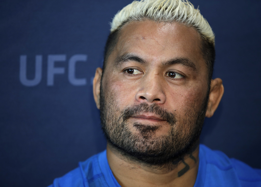 In this Thursday, March 2, 2017 photo, Mark Hunt, of Australia, speaks with the media during a news conference for UFC 209 in Las Vegas...
