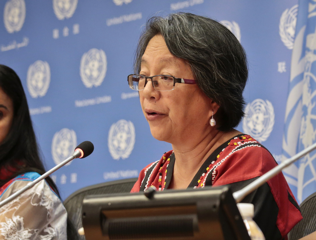 FILE - In this May 17, 2016, file photo, Victoria Tauli-Corpuz, U.N. Special Rapporteur on the Rights of Indigenous Peoples, speaks at