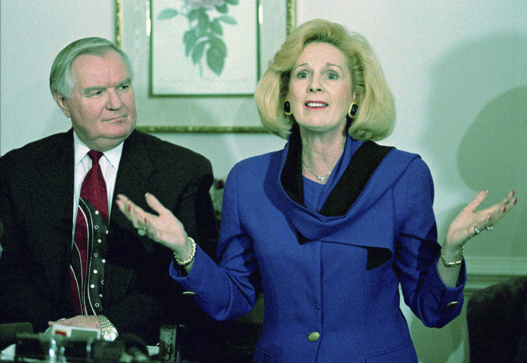 FILE - In this Thursday, March 2, 1995 file photo, Word of Faith Fellowship church leader Jane Whaley talks to members of the media, ac...