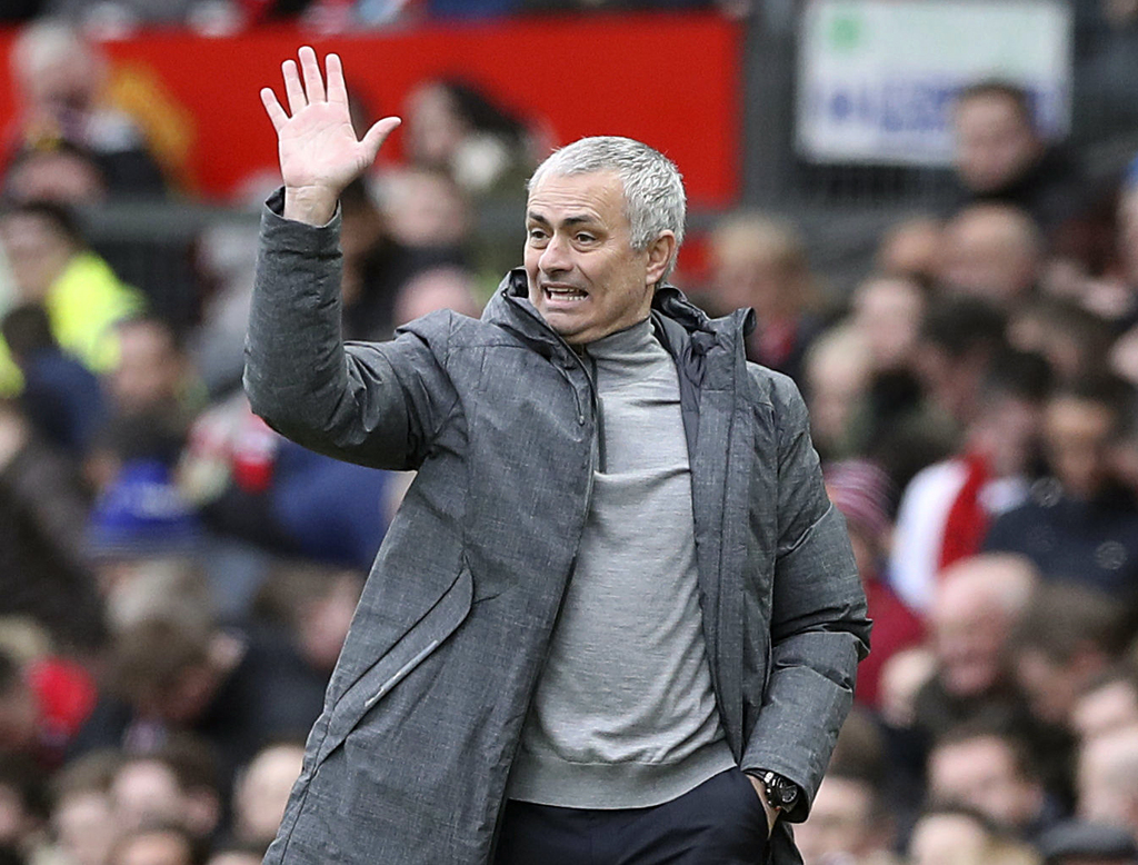 Manchester United manager Jose Mourinho gestures during their English Premier League soccer match against AFC Bournemouth at Old Traffo...