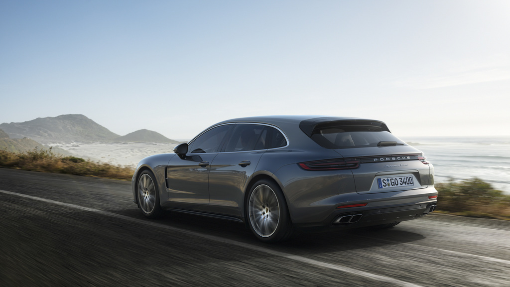 This undated file picture provided by car manufacturer Porsche AG shows the Porsche Panamera Turbo Sport Turismo. The car will be shown...