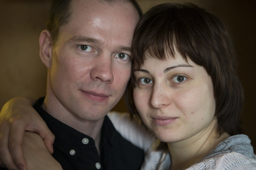 In this photo taken on Saturday, March 4, 2017, Russian opposition activist Ildar Dadin and his wife Anastasia Zotova pose for a photo ...