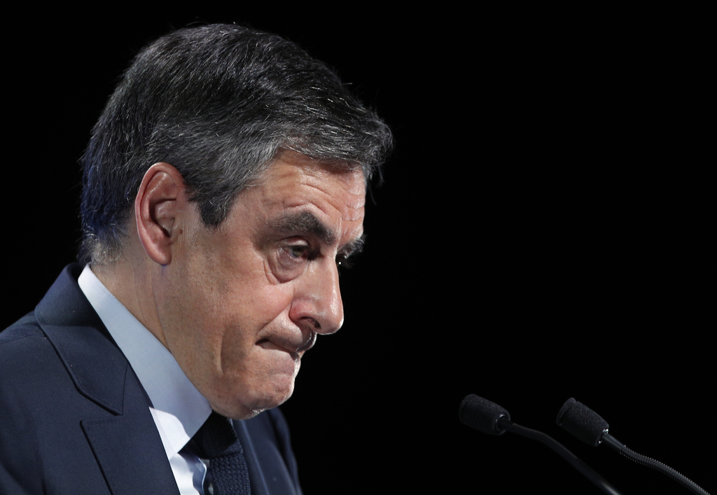 Conservative presidential candidate Francois Fillon delivers his speech during a campaign meeting in Aubervilliers, outside Paris, Fran...