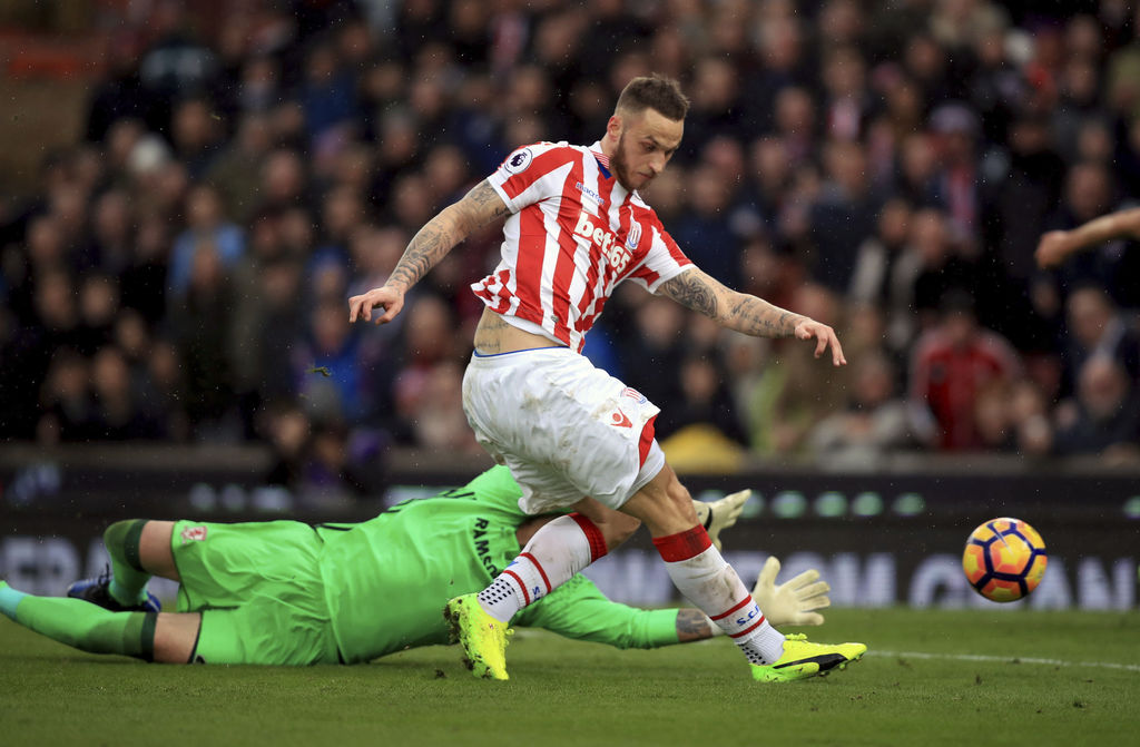 Stoke City's Marko Arnautovic scores his side's first goal of the game during their English Premier League soccer match against Middles...