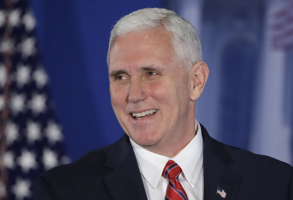 FILE - In this Jan. 26, 2017 file photo, Vice President Mike Pence speaks at the Republican congressional retreat in Philadelphia. Pres...