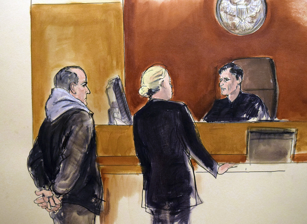 In this courtroom drawing, Elvis Redzepagic, left, appears before Magistrate Judge Robert Levy, right, Saturday, March 4, 2017 in New Y...