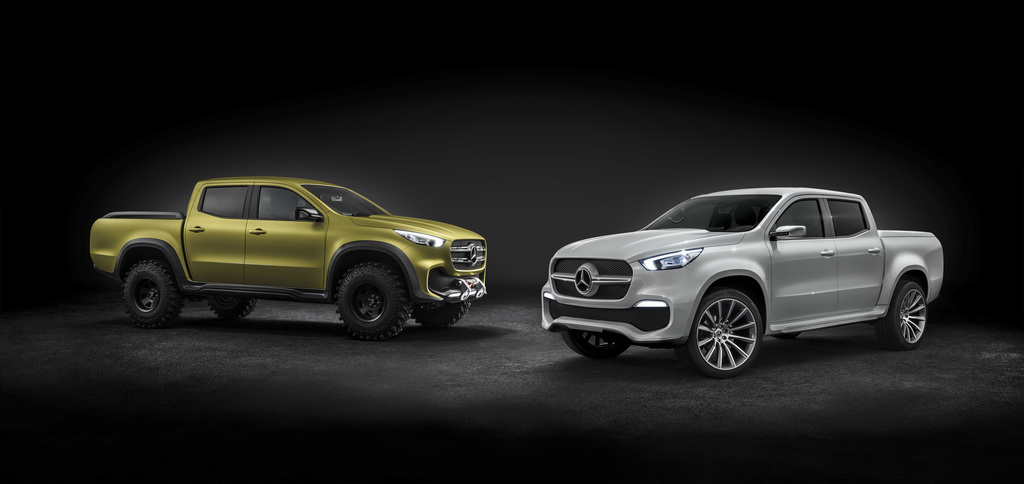 This undated photo provided by Daimler AG shows Mercedes X-Class cars. The cars will be shown at the Geneva Auto Show in Geneva, Switze...