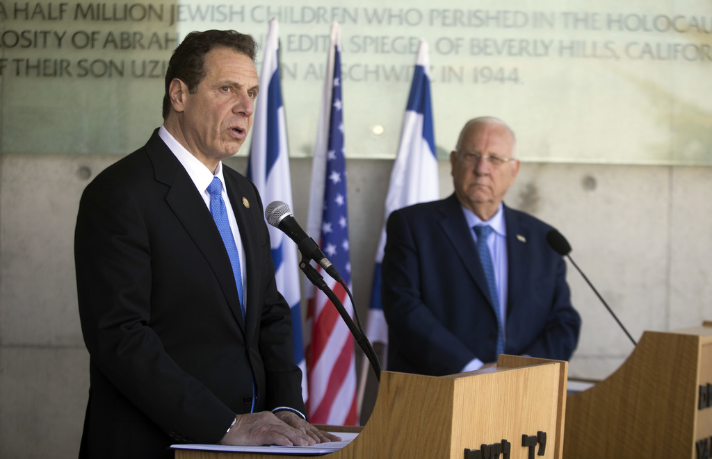 The Governor of New York Andrew M. Cuomo, left, and Israeli President Reuven Rivlin speak to the media at the Yad Vashem Holocaust memo...
