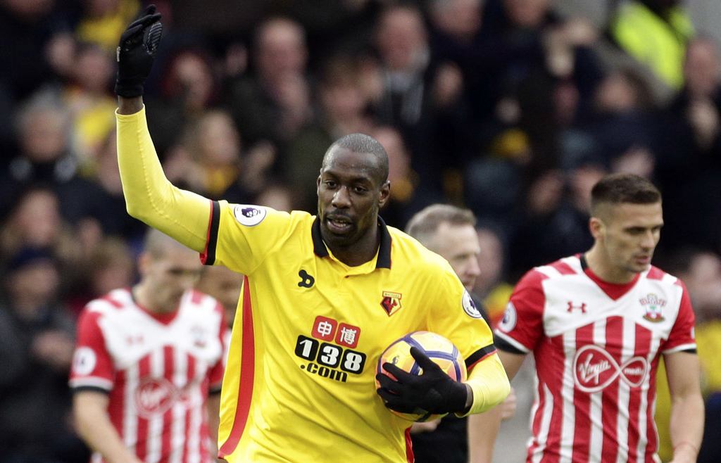 Watford's Stefano Okaka celebrates scoring his side's second goal, during the English Premier League soccer match between Watford and S...