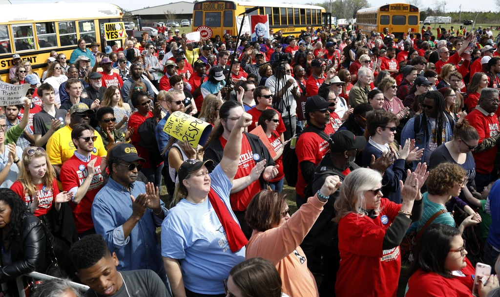 Several thousand participants gather at a pro-union rally near Nissan Motor Co.'s Canton, Miss., plant, Saturday, March 4, 2017, to lis...