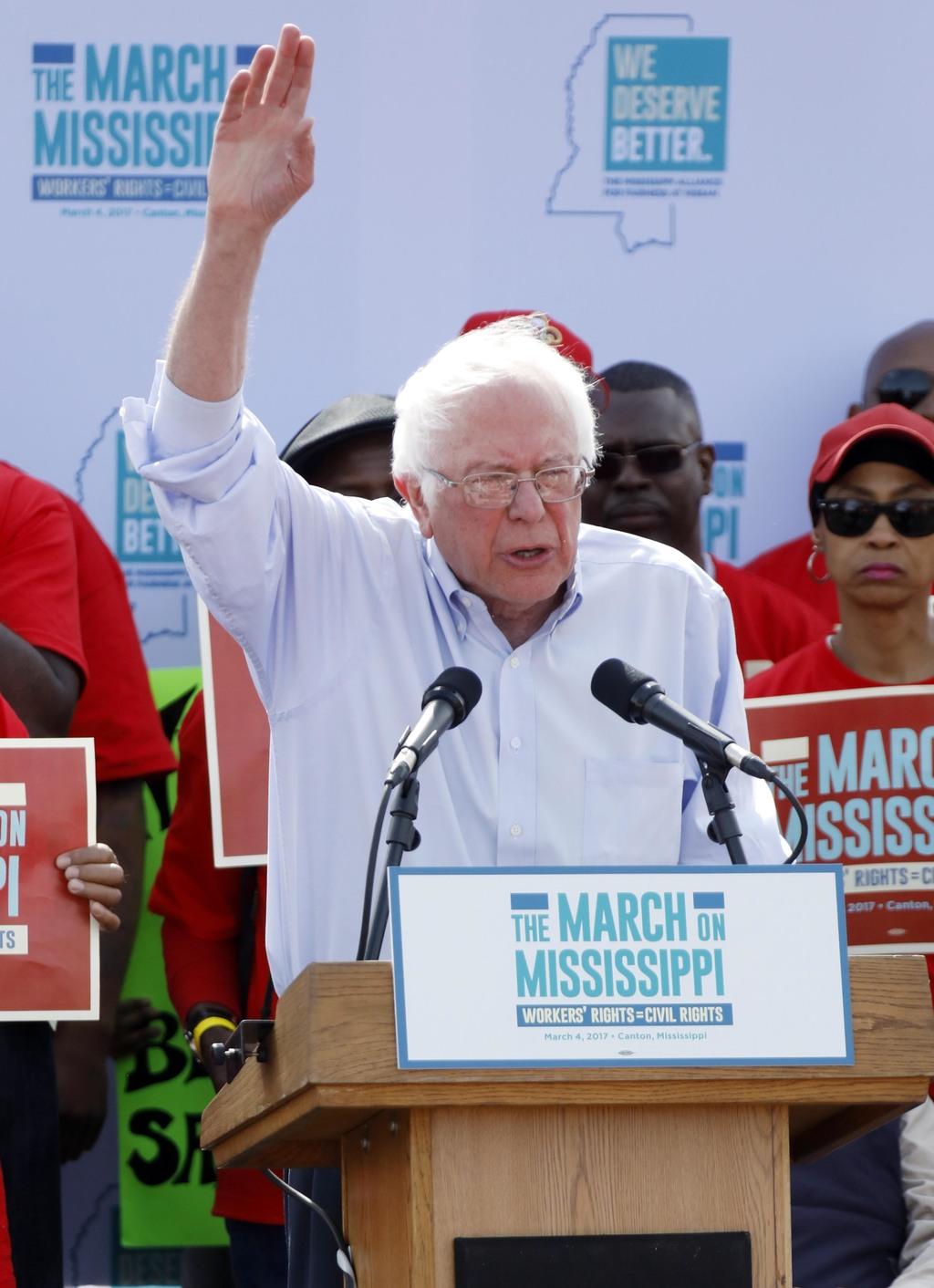 U.S. Sen. Bernie Sanders, I-Vt, tells thousands at a pro-union rally near Nissan Motor Co.'s Canton, Miss., plant, Saturday, March 4, 2...